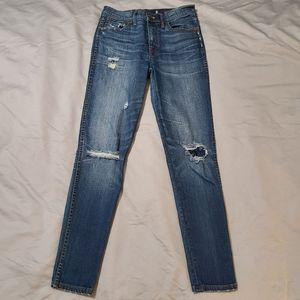 """Madewell 9"""" High Riser Skinny Distressed Jeans 27"""